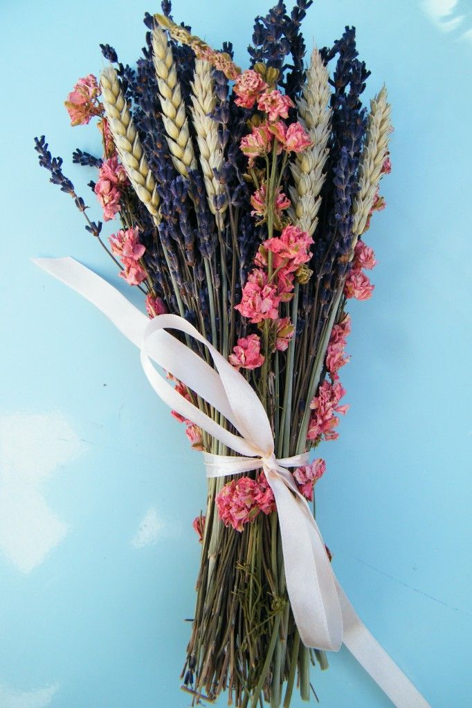 dried lavender delphinium wheat bouquet, I think I would like them more as centerpieces though