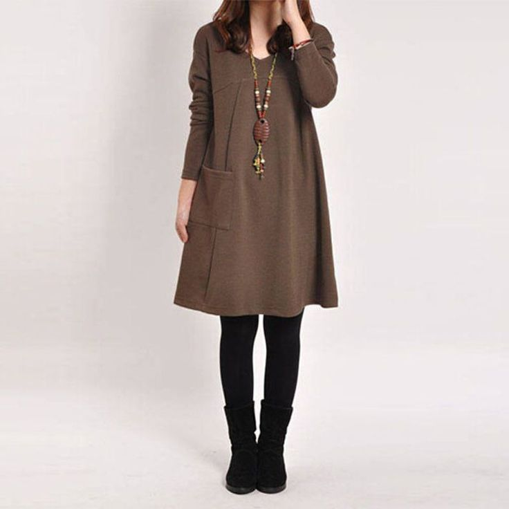 Available in Large Sizes Women Long Sleeve Pocket Dress Solid O Neck Casual Loose Dresses Vestidos Plus Size S-5XL