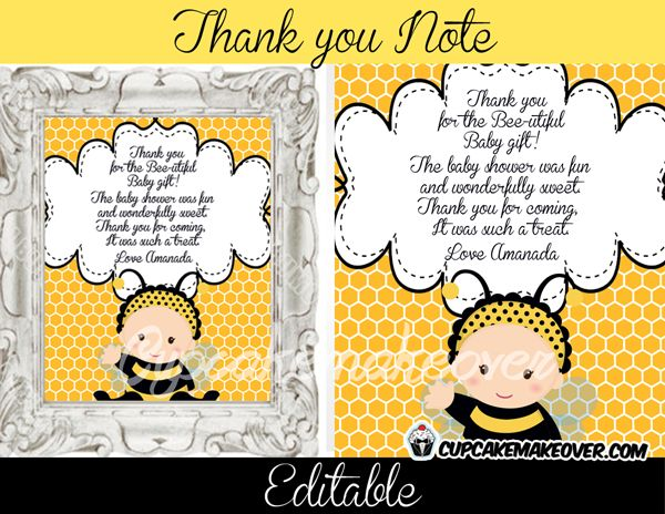 Bumble Bee Editable Thank You Notes INSTANT DOWNLOAD PartyBag