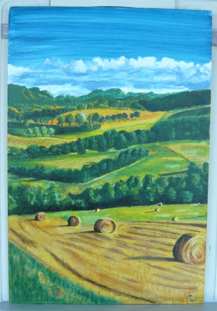 created by: Kovácsné Sz. Éva - Tuscany landscape, acrylic, 20x30 cm wallboard  (Forrás: The Hotel Edy in Chianciano, Tuscany, Italy)