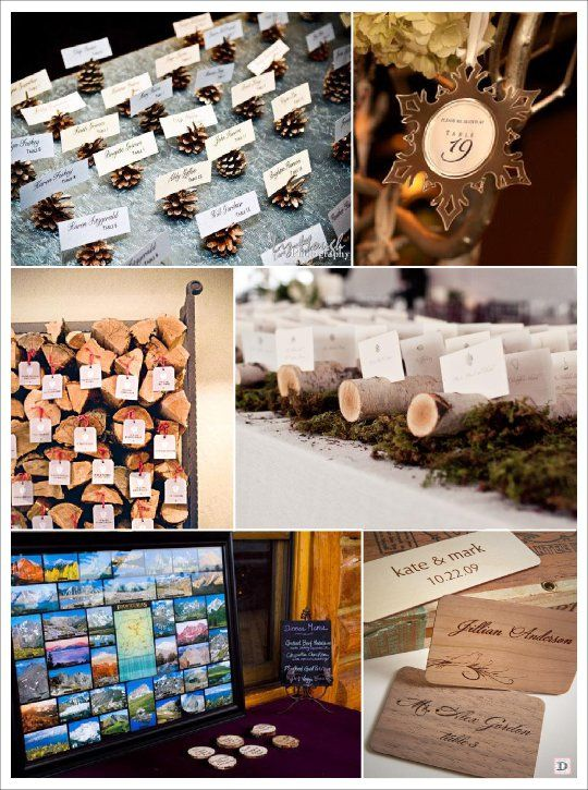 Beautiful Plan De Table Noel #2: Mariage Hiver Escort Cards Cartes Postales Rondin Pomme De Pin