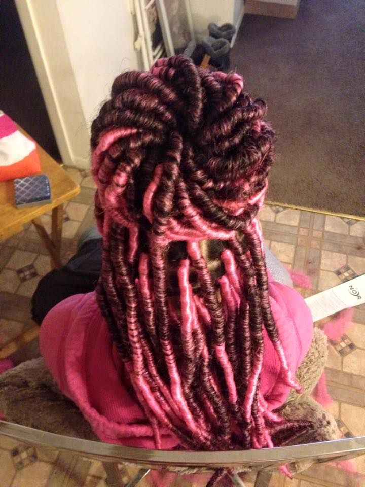 Pink Faux Locs With Marley Hair Braids Faux Locs
