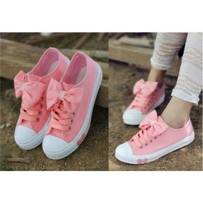 Buy Fashion Clothing - Big Bow Flat Canvas Sneakers Women's Shoes - Flats - Shoes