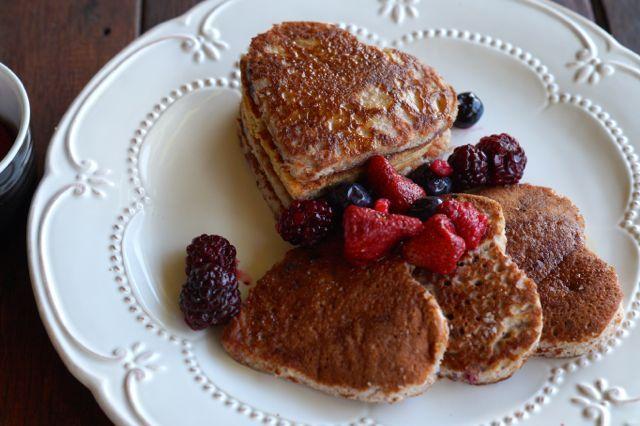 Paleo Vanilla Raspberry Pancakes.