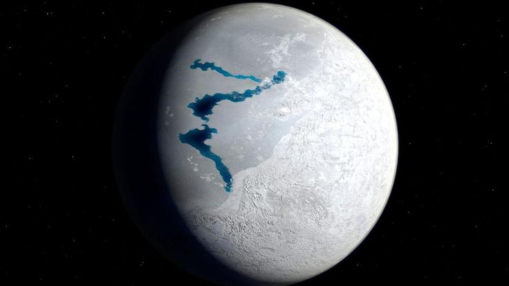 715 million years ago the entire planet was encased in snow and ice. This frozen wasteland may have been the birthplace of complex animals