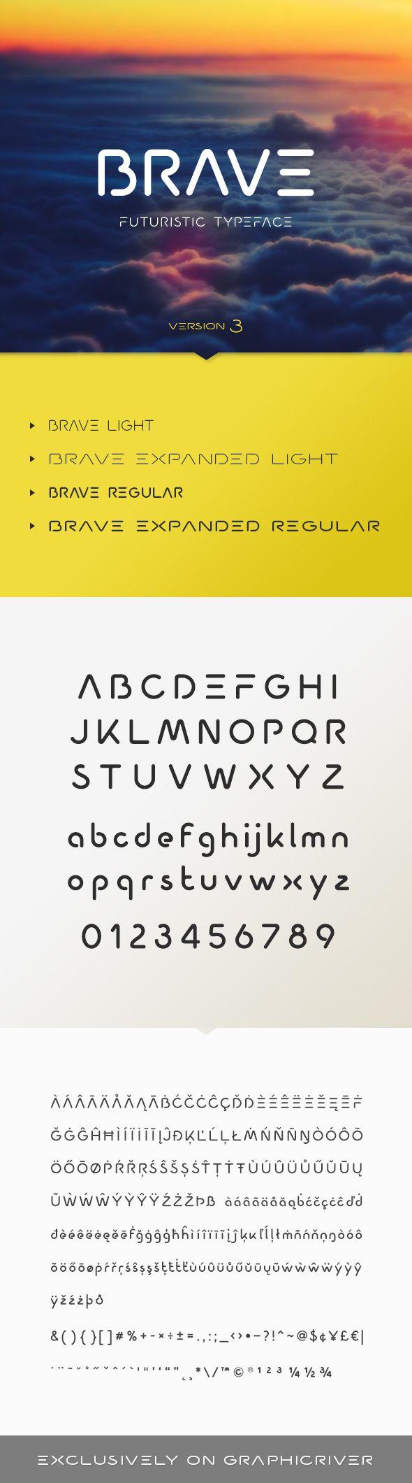 Brave Typeface - Futuristic Decorative | Download: http://graphicriver.net/item/brave-typeface/12058868?ref=sinzo