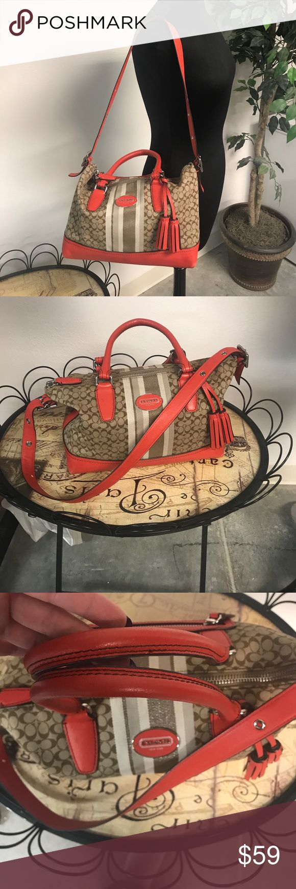 Coach legacy stripe orange satchel! Beautiful Coach legacy stripe satchel. Creed #29622E The corners do have wear. Lovely fall colors. Silver hardware. Smoke free. Coach Bags Shoulder Bags