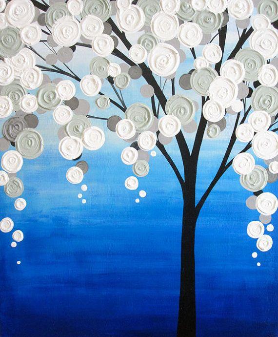 Arbre texturé bleu et gris Original peinture à lacrylique sur toile Dimensions : 20 x 24 Profondeur : 1.5 Couleur : Cette peinture a une belle gamme de blues--dune nuance riche de cobalt plus léger gris-Blues. Nuances de gris sont neutres dans ton--pas trop chaude ou fraîche--pour coordonner avec une variété de décor. Texture lourde ajoute belle dimension à la pièce. Bords : Cette toile est Galerie enveloppé et peint noir sur tous les bords, donc il ny a pas besoin darmature. Finition…