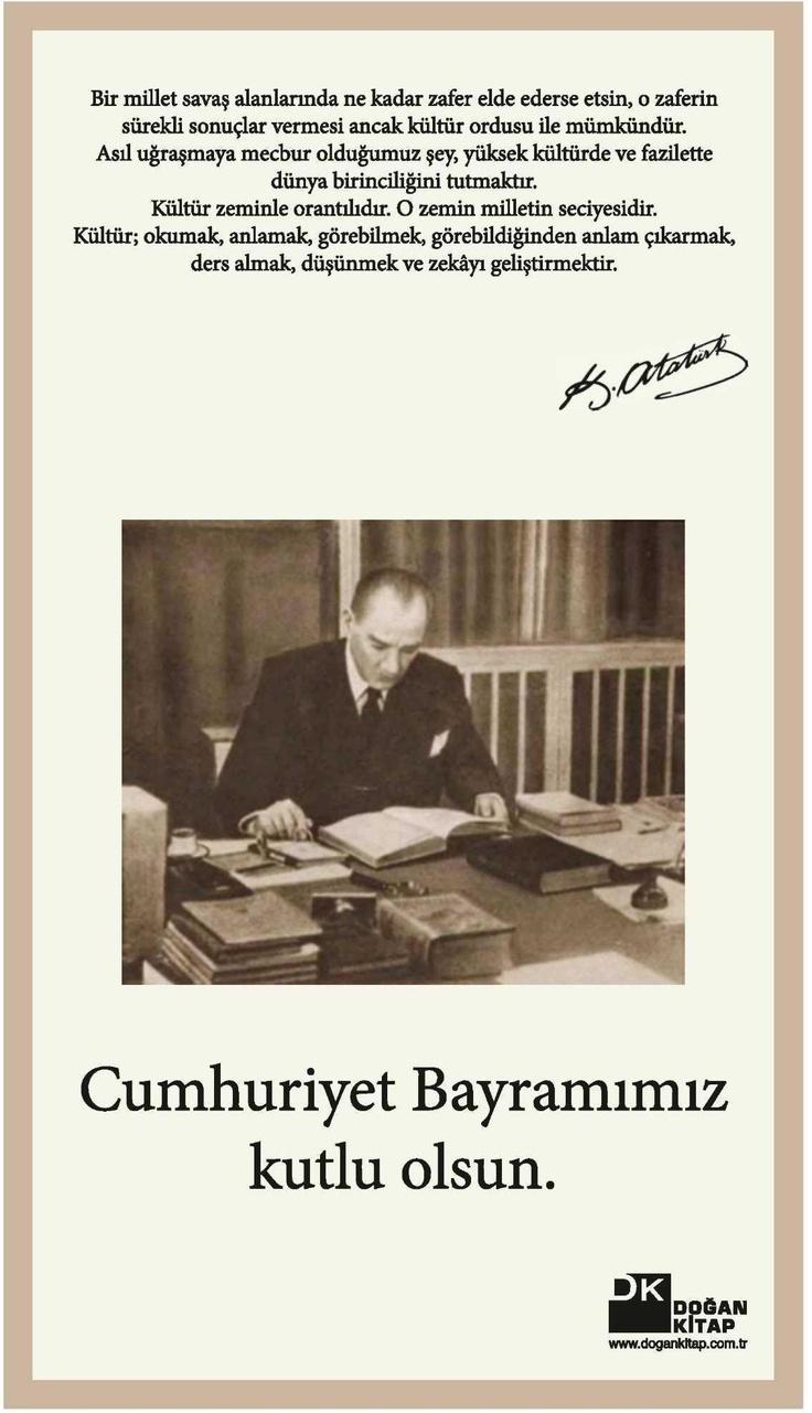 29 Ekim Cumhuriyet Bayramı İlanı
