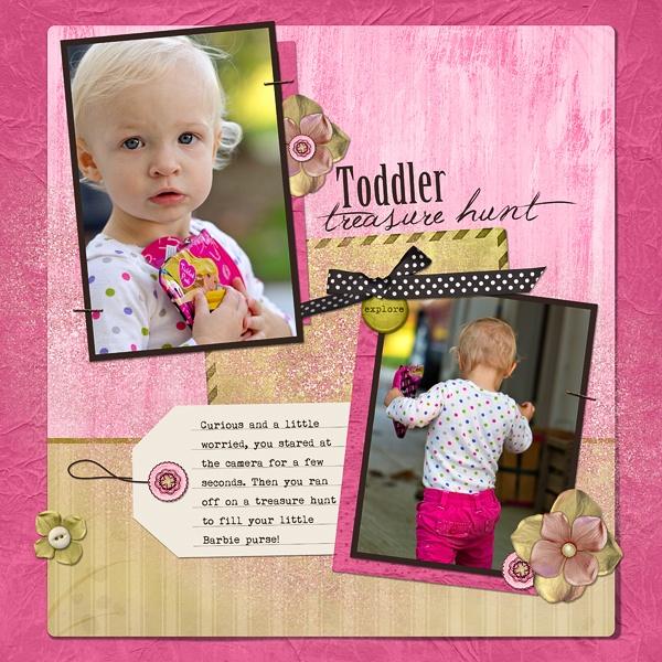 Toddler Treasure Hunt Digital Scrapbooking Layout by Karen Chandler
