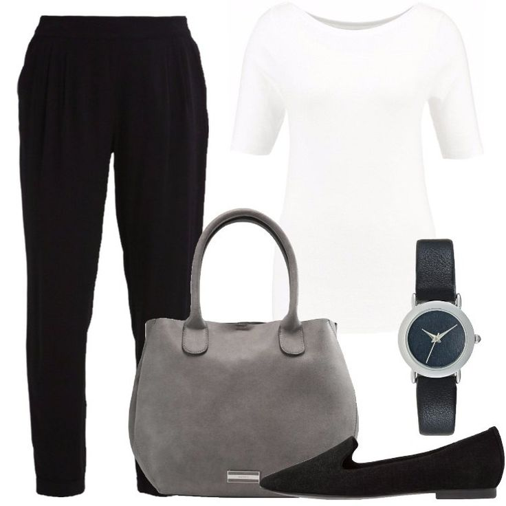 L'outfit è composto da T-shirt con scollo tondo, un pantalone nero a vita alta, un paio di scarpe nere senza lacci, una borsa a mano grigia in fintapelle e da un orologio.