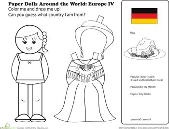 Worksheets: German Paper Doll  My 1st grader was asking today if we could make paper dolls and I found these! So fun to teach about different countries and cultures :)