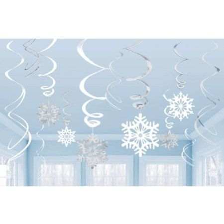 Value Pack of Snowflake Hanging Swirl decorations (12 pieces): Amazon.co.uk: Kitchen & Home