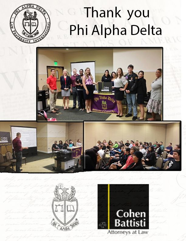 Thank you #PhiAlphaDelta for inviting us to speak at your meeting at #UCF
