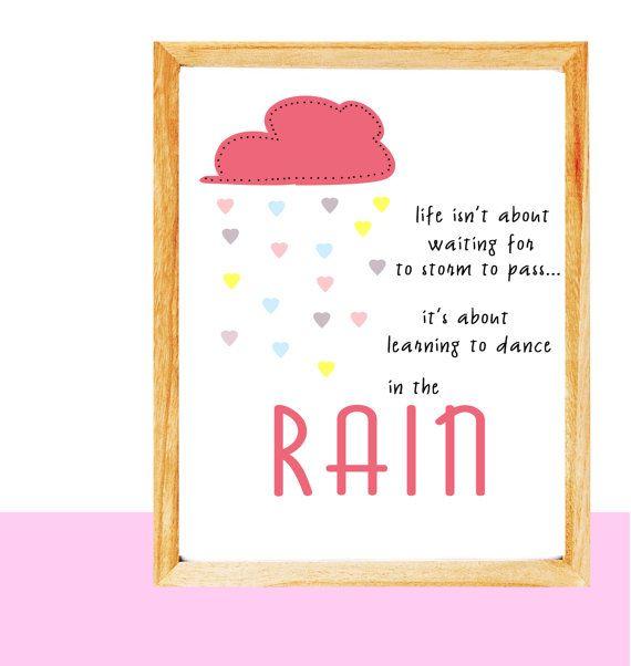 Printable inspirational wall art Rain instant by mntpaperwork