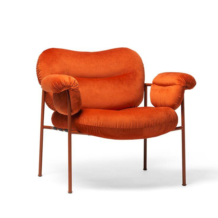 Bollo fåtölj - Bollo fåtölj - tyg orange, kopparbrunt underrede