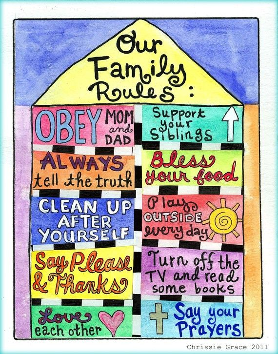 "Family rules... ***I think they covered the basics! Might add, ""be true to yourself"", to encourage individuality and creativity!"