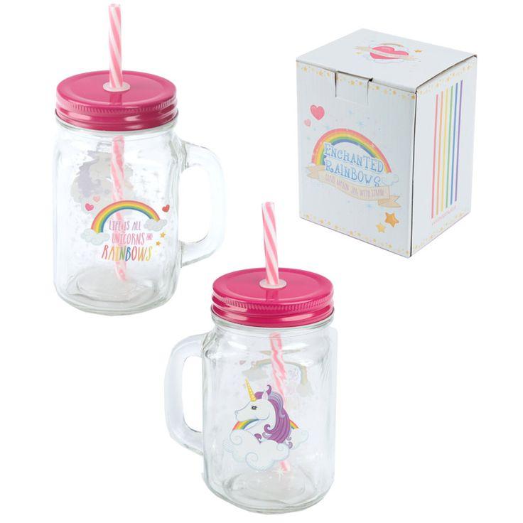 Cute Unicorn Drinking Jar with Straw