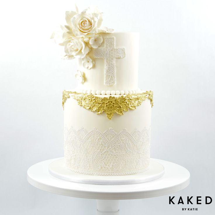 Baptism Cake | Gold | Lace | Sugar Flowers | Pearls | Flowers | Roses | White | Fondant | Celebration