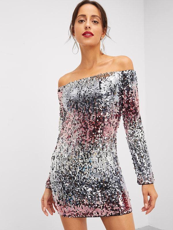 88b07db360 Off Shoulder Sequin Color Block Dress -SheIn(Sheinside)