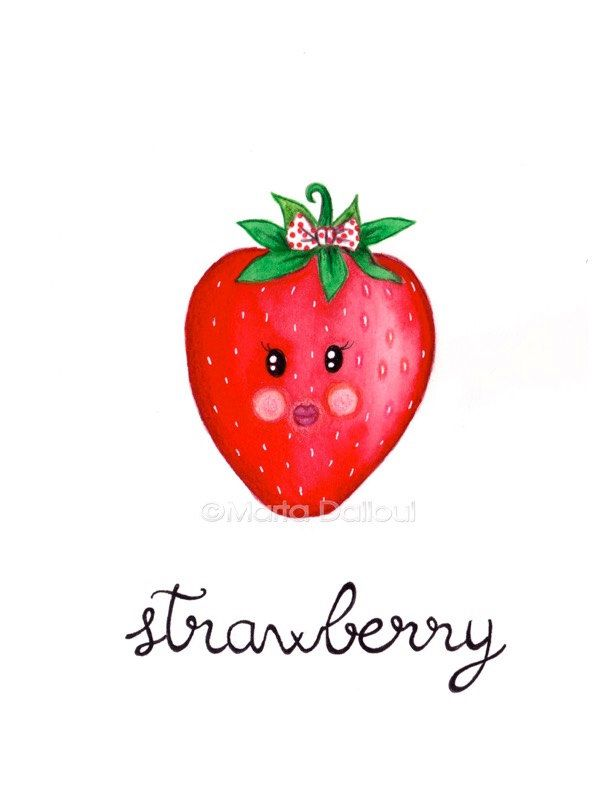 Strawberry art print. Fruit watercolor painting. Cute strawberry illustration. Whimsical fruit nursery art. Kitchen fruit food wall art. by MartaDalloul on Etsy https://www.etsy.com/listing/238189310/strawberry-art-print-fruit-watercolor