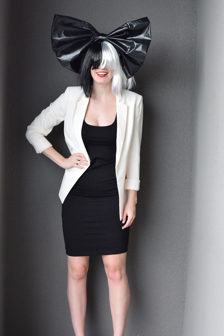 An easy DIY Sia costume for Halloween! Tutorial for how to make the bow and where to get the rest of the pieces