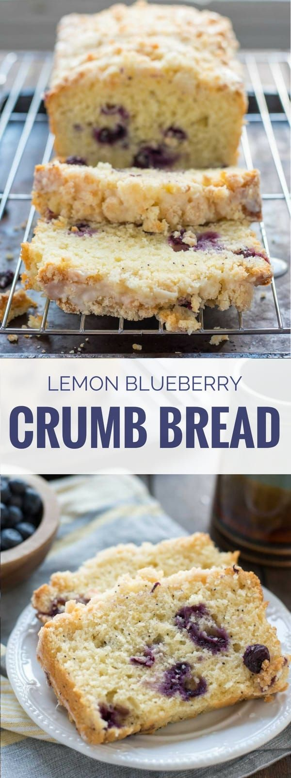Lemon Blueberry Crumb Bread is sweet, tangy, bursting with blueberries and covered in a killer sugar crumb topping!
