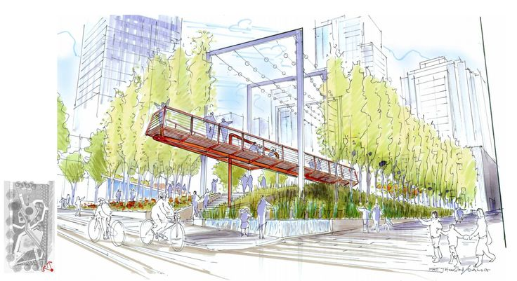 An elevated walkway will cut across the park from the northern property line to Smithe Street.
