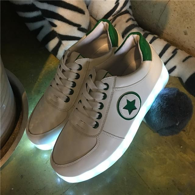 Unisex STAR & Circular Design with Glowing LED Luminous Sneakers