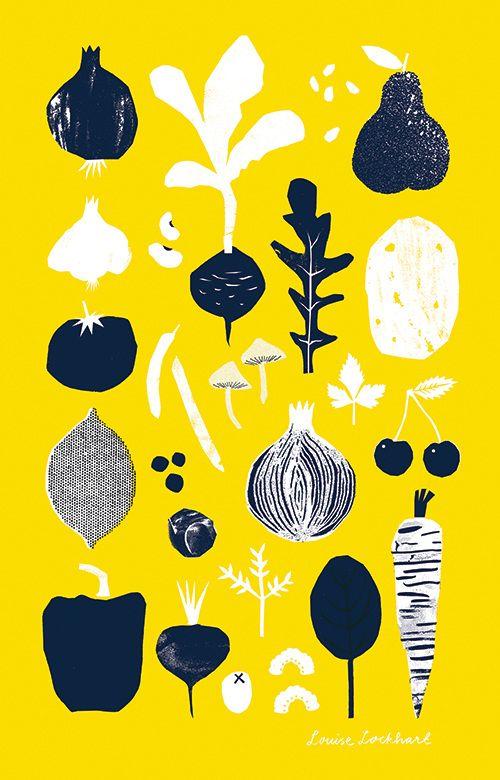 Fruit & Veg Tea Towel - Louise Lockhart, The Printed Peanut, design, printmaking, design, mark making, illustration, pattern, food, vegetables, garden, allotment