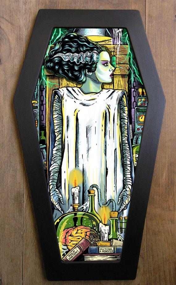 The Bride of Frankenstein coffin framed print. by bwanadevilart