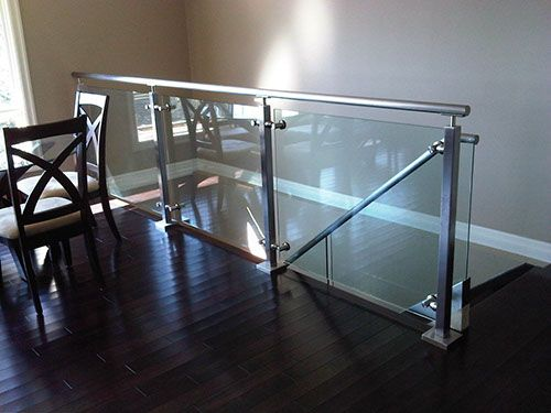 Indoor glass ballisters interior glass railings home for Indoor glass railing