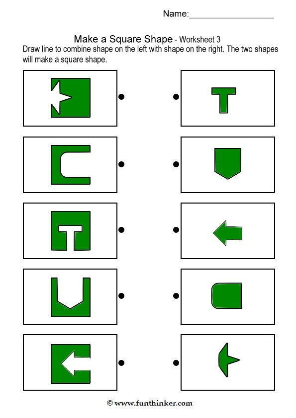 make a square shape. Click brain teaser tab at the top to find lots more worksheets.