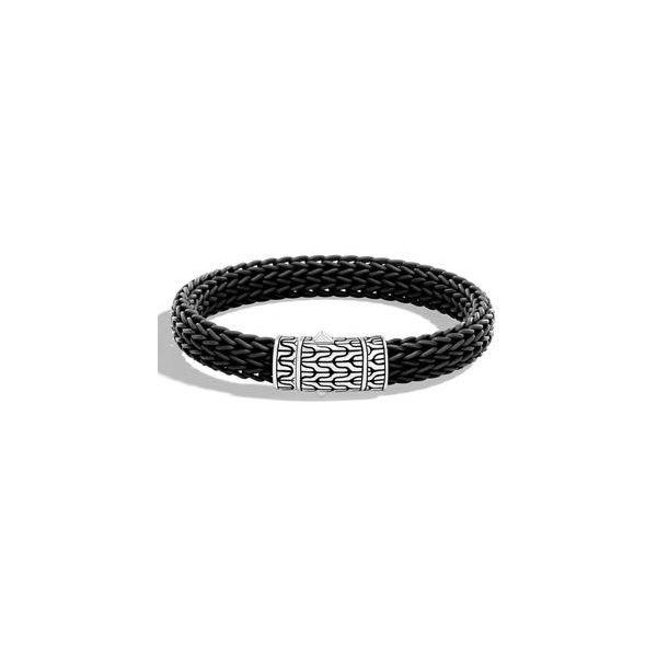 John Hardy Men's Classic Chain Rubber Push-Clasp Bracelet ($295) ❤ liked on Polyvore featuring men's fashion, men's jewelry, men's bracelets, black, mens engraved bracelets, mens bracelets, mens leather braided bracelets, mens woven bracelets and john hardy men's bracelets