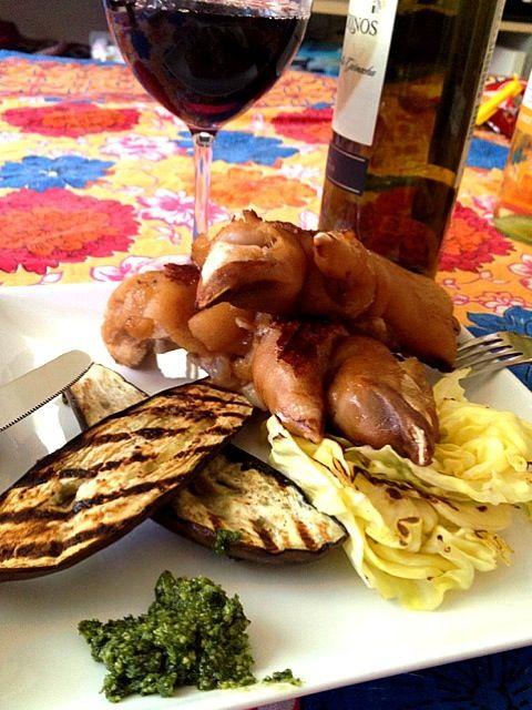 好きな物食食べる! - 15件のもぐもぐ - 豚足豚足茄子と春キャベツのグリル。大葉のジェノベーゼ。 by basilico