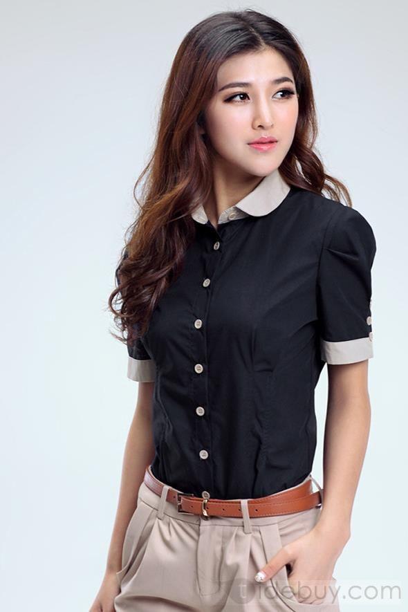 素晴らしい新着カラーブロックファッションOLシャツ