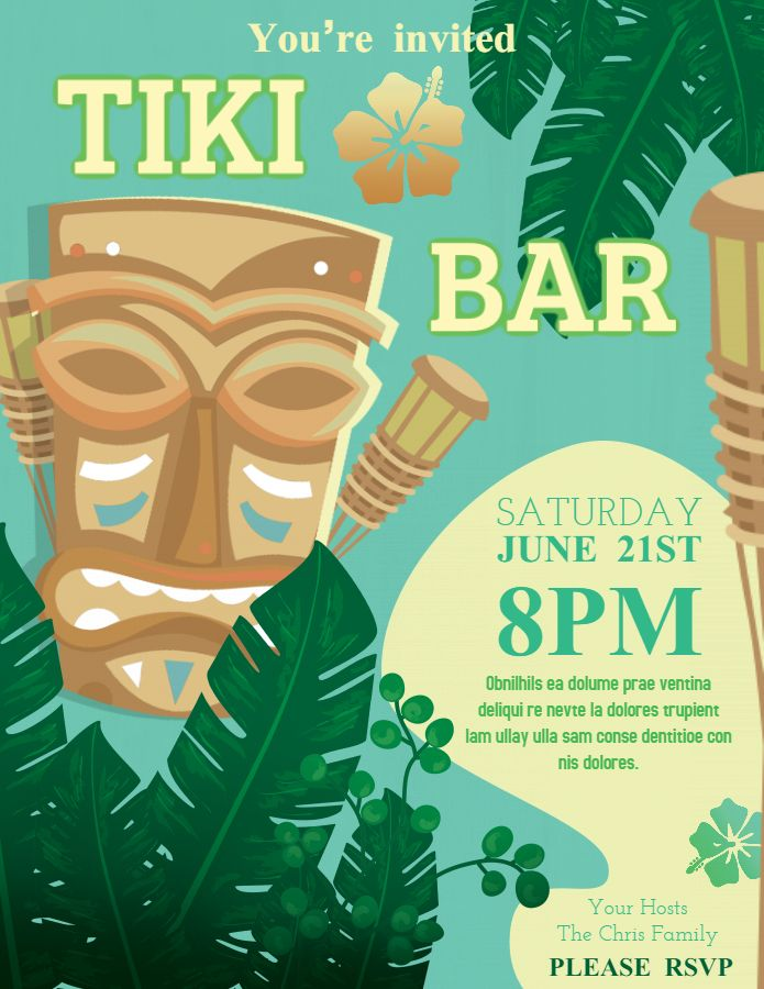 Tiki bar Luau party flyer poster template Luau Party Flyers in