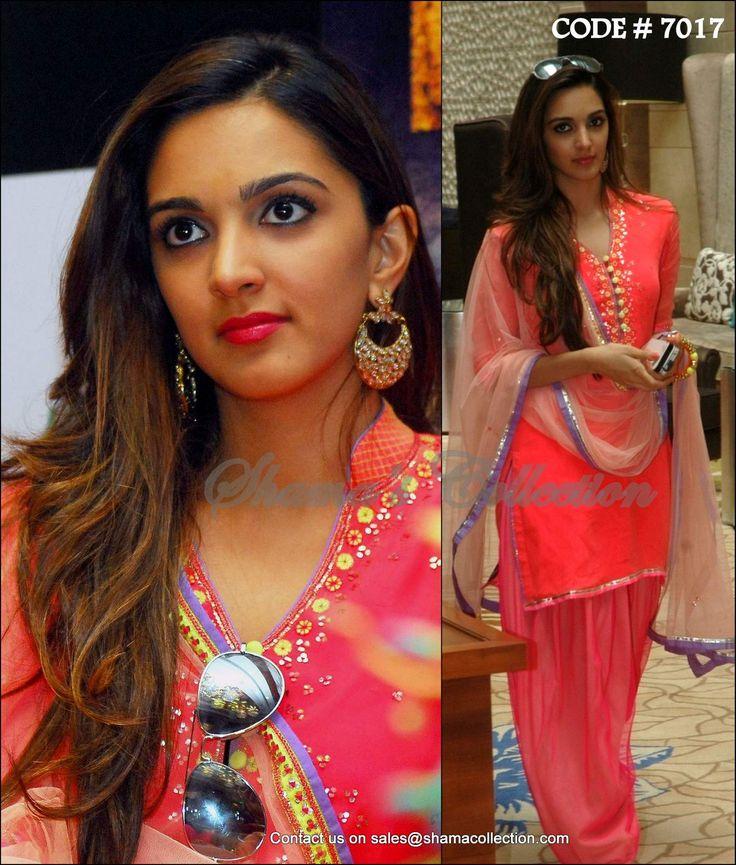 7017 Kiara Advani's coral patiala suit - Shama's Collection