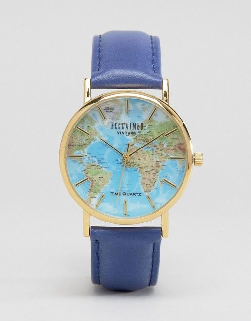Reclaimed Vintage | Reclaimed Vintage Blue Map Print Watch