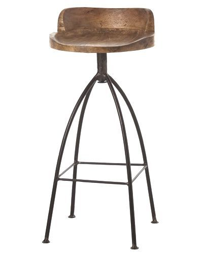 Hinkley Wood and Iron Swivel Barstool from Arteriors Home blends rustic with chic. Natural material and industrial accents offer the perfect seating at bar. As seen in Southern Living Magazine for kitchen wooden seats for the old world feel. As seen in House Beautiful magazine.