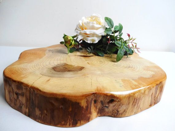 13 wood slab cake stand rustic wedding large wood slice for Large tree trunk slices