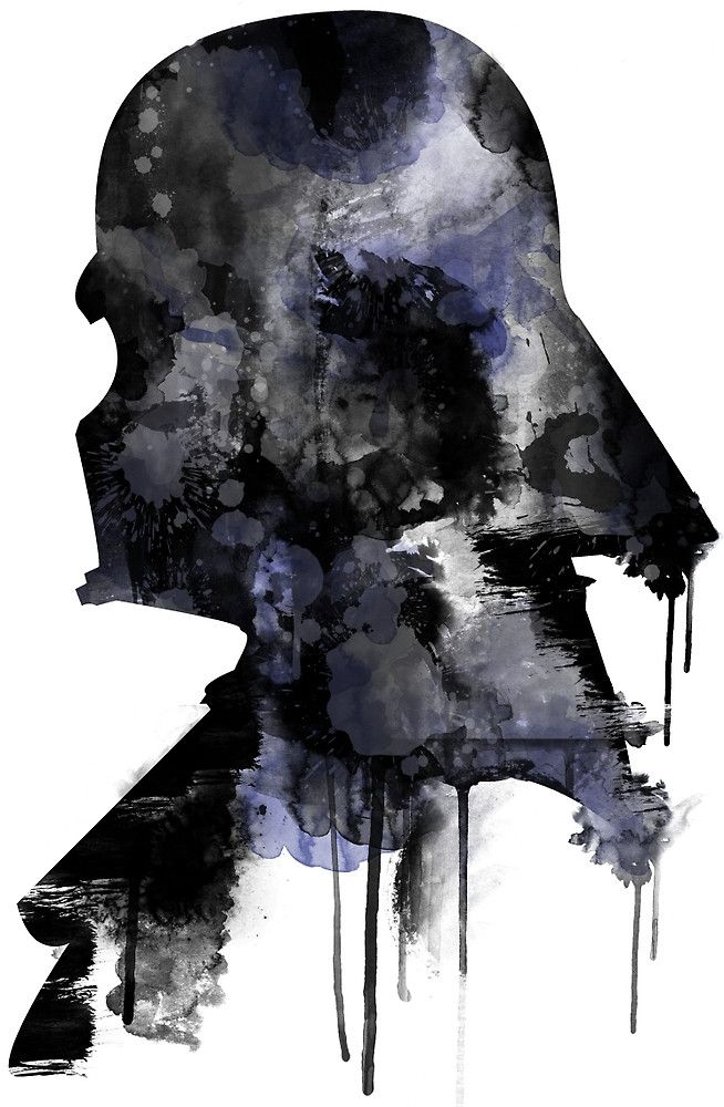 Star Wars Minimalist Watercolor Digital Painting- Darth Vader by NerdgasmsByKat