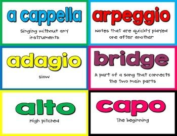 Need a bright and colorful music word wall for your music room? You'll love the cards we created!