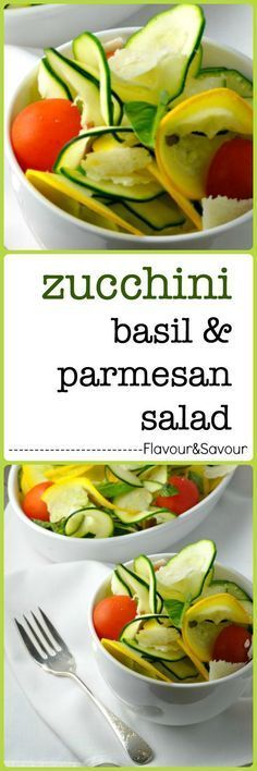 Zucchini Basil and Parmesan Salad. Slice zucchini very thinly and combine it with other late-summer garden goodness like tomatoes, basil, and green onions. Toss it all with a light lemony dressing with a chili pepper kick and add some curls of Parmigiano Reggiano for a sharp, salty contrast.