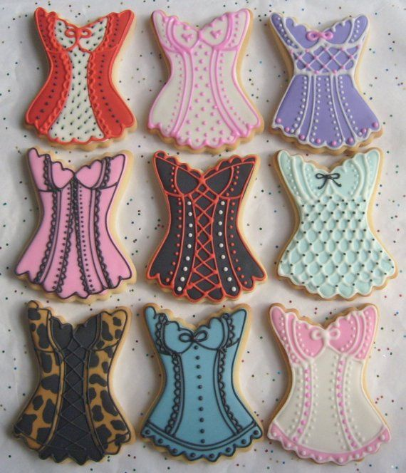 CORSET  Cookies - Corset Decorated Cookies -Bachelorette Party Cookie Favors - Bridesmaid Cookie Favors - 3.50 each