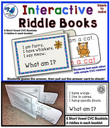 Who doesn't love riddles?  Students make a simple booklet with pouches. After reading the clues to a partner, they pull out the answer card to see if they are correct! Tons of reading practice and fun! $ This set covers practice for short vowel CVC words. Sets with Blends, Digraphs and Vowel Sounds too. Whimsy Workshop Teaching http://whimsyworkshop.blogspot.ca/