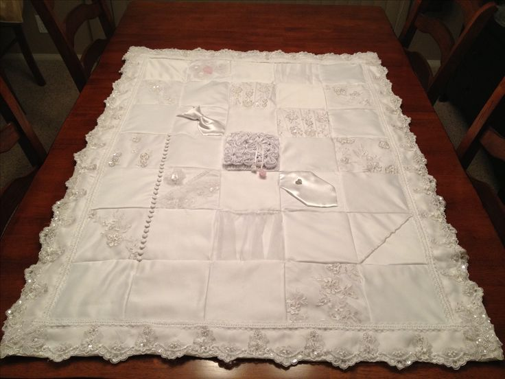 Quilt made from my wedding dress