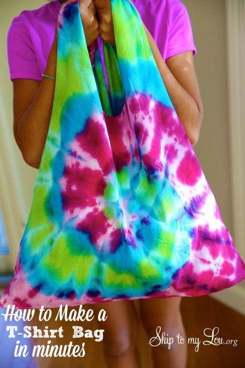 DIY Tshirt Bag! Stop throwing old T-shirts away ... or buying gift bags. Make this in minutes! www.skiptomylou.org #tshirtbag #diy #crafts