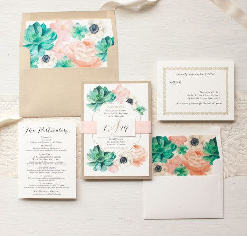 Blush Succulent Anemone Wedding Invitations | Beacon Lane