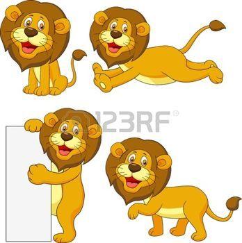 safari bebe: León lindo set de dibujos animados Vectores